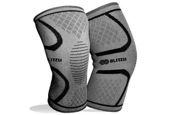 (Medium, Gray) - BLITZU Flex Plus Compression Knee Brace Men and Women for Joint Pain, ACL MCL Arthritis Relief Meniscus Tear Support for Running Gym Workout Recovery Best Sleeves Strap Patella 7mm 5mm Neoprene Pad