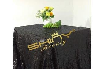 (150cm  x 260cm , Black) - ShinyBeauty Sequin Rectangular 150cm x 260cm Tablecloth,Black