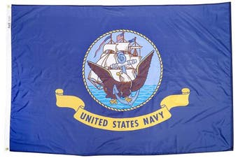 (1.2m by 1.8m) - Annin Flagmakers Model 439031 U.S. Navy Military Flag 1.2m x 1.8m Nylon SolarGuard Nyl-Glo 100% Made in USA to Official Specifications. Officially Licenced Manufacturer.