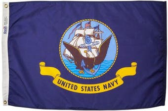 (0.6m x 0.9m) - Annin Flagmakers Model 439029 U.S. Navy Military Flag 0.6m x 0.9m Nylon SolarGuard Nyl-Glo 100% Made in USA to Official Specifications. Officially Licenced Manufacturer.