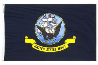 (0.9m by 1.5m) - Annin Flagmakers Model 439030 U.S. Navy Military Flag 0.9m x 1.5m Nylon SolarGuard Nyl-Glo 100% Made in USA to Official Specifications. Officially Licenced Manufacturer.