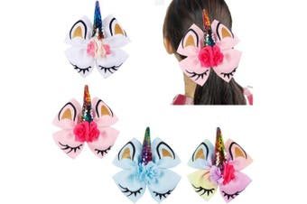(hair clips) - 4Pcs 15cm Large Big Unicorn Hair Bows Glitter Sparkly Cheer Bows Alligator Hair Clips Hair Accessories for Girls Toddlers Kids Children Teens