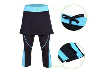 (Small, Blue-No-Pocket) - ANIVIVO Skirted Tennis Legging for Women, Skirted Capri Leggings Tennis Pants for Women & Sports Capri Skirted Leggings