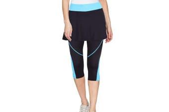 (Large, Blue-No-Pocket) - ANIVIVO Skirted Tennis Legging for Women, Skirted Capri Leggings Tennis Pants for Women & Sports Capri Skirted Leggings