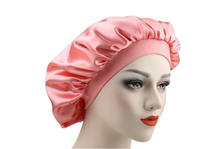 (Pink and Browm) - Women Versatile Bonnet Wraps Satin Sleeping Cap for Chemo Patients