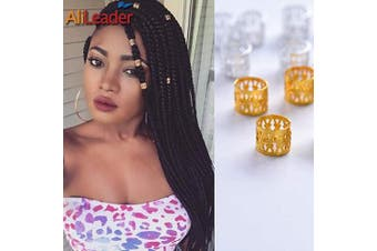 (Golden) - Golden Dreadlock Beads for Hair Adjustable No Rust Aluminium Metal Cuffs Beads 8.5mm 100pcs Braiding Hair Decoration Jewellery by AliLeader (Golden)