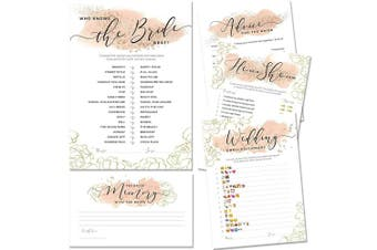 (Blush & Gold) - Bridal Shower Games   Set of 5 Games   50 Sheets Each   Floral Blush and Gold Theme   Includes Marriage Advice Cards, Emoji Game, and Favourite Memory