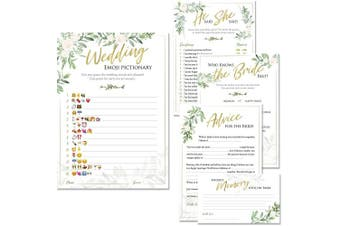 (Rustic Greenery) - Bridal Shower Games | Set of 5 Games | 50 Sheets Each | Floral Rustic Greenery Themed | Includes Marriage Advice Cards, Emoji Game, and Favourite Memory