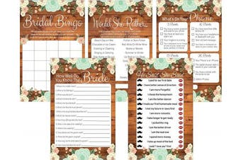 (Bridal Shower Game Bundle) - 5 Rustic Bridal Shower Games Set, 20 Bride Game Cards for Each Game, Bridal Shower Decorations, Bride To Be Gifts, Wedding Games & Wedding Decorations, Party Favours (Bridal Shower Game Bundle)