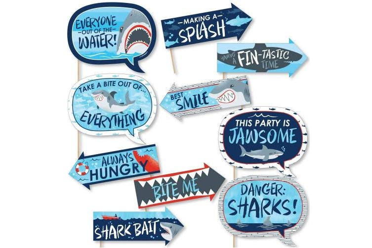 Funny Shark Zone - Shark Week Party - Jawsome Shark Party or Birthday Party Photo Booth Props Kit - 10 Piece