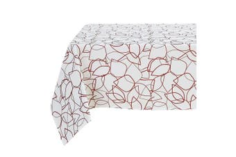 (150cm  x 260cm , Leaf Edges-red) - Deconovo Oxford Rectangle Tablecloth Dustproof Waterproof Printed Table Cover for Parties 150cm x 260cm Red