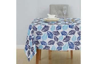 (140cm  x 140cm , Leaf-blue) - Deconovo Square Tablecloth Oxford Wrinkle Free Spillroof Leaf Print Tablecloth for Picnic 140cm x 140cm Blue