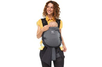 (grey) - manduca Duo - Hybrid of Baby Carrier and Sling, Innovative Click & Tie System, Baby Slip-Through-Protection, Removable Hip Belt, Organic Cotton and Mesh, from Birth to 15kg (Grey)