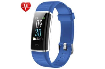 (Blue) - Willful Fitness Tracker, Fitness Watch Activity Tracker with Heart Rate Monitor Watch, IP68 Waterproof Sleep Monitor Step Counter 14 Sport Modes,Pedometer for Women Men Kids (Colour Screen,2018 Ver)