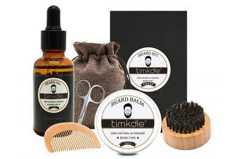 Timkdle Beard Care Kit Beard Oil Grooming Beard Balm for Styling Shaping and Retouching Tool(Oil+Balm+Brush+Comb)