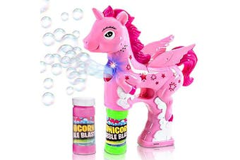 ArtCreativity Unicorn Bubble Blaster with Light and Sound | Includes 1 Bubble Gun & 2 Bottles of Bubble Solution & Batteries Installed, for Girls and Boys (Colours May Vary)