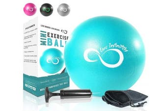(23cm , Teal) - Live Infinitely 23cm Barre Pilates Ball & Hand Pump– Anti Burst Mini Ball & Digital Workout eBook Included for Yoga, Exercise, Balance & Stability Training – Comes with Mesh Carrying Bag