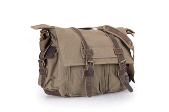 (Army Green) - Messenger Bag, Vintage Canvas Leather Satchel 38cm Laptop Crossbody Shoulder Bag with Straps for Men Military Travel Women School Boys Girls Teen [Army Green/Coffee]