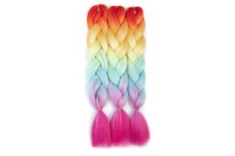 (3pcs, Rainbow) - Rainbow Kanekalon Braiding Hair 3pcs Ombre Jumbo Braiding Extension High Temperature Rainbow Colour Jumbo Hair (3pcs, Rainbow)
