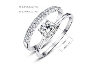 (P) - Bonlavie 0.9ct 925 Solid Sterling Silver White Cubic Zirconia Ring Set for Bride Wedding Band Engagement