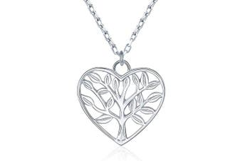 """(Style 2) - BlingGem Heart Tree of Life Pendant Necklace 925 Sterling Silver White Gold Plated Necklace for Women Adjustable Chain Gift for women 18"""""""