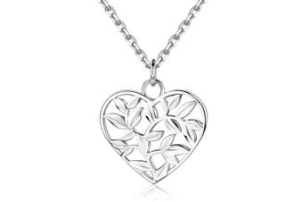 """(Style 1) - BlingGem Heart Tree of Life Pendant Necklace 925 Sterling Silver White Gold Plated Necklace for Women Adjustable Chain Gift for women 18"""""""