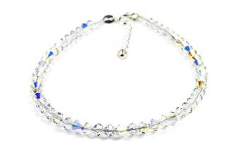 (11.5 inches) - Dent Designs Anklet Sterling Silver with Small Crystal AB Crystals