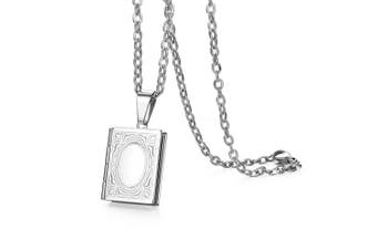 (Book) - Cupimatch Book Love Heart Photo Locket Pendant Necklace Charm Chain Fashion Jewellery 45cm