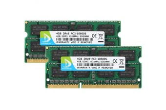 (Sodimm, 8GB Kit Green) - DUOMEIQI 8GB (2 X 4GB) 2RX8 PC3-10600S DDR3 1333MHz SODIMM CL9 204 Pin 1.5v Notebook Non-ECC, Unbuffered Laptop Memory RAM Compatible with Intel AMD and Mac Computer