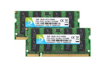 (Sodimm, 4GB Kit) - DUOMEIQI 4GB (2X 2GB) 2RX8 PC2-5300S PC2-5300 PC2-5400 DDR2 667MHz CL5 200 Pin 1.8v SODIMM Notebook RAM Non-ECC Unbuffered Laptop Memory Module Compatible with Intel AMD System—Green