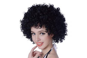 (Black) - Aicker Black Short Afro Clown Wig 30cm Kinky Curly Synthetic Halloween Party Costume Hippie 70s Disco Cosplay Hair Wigs