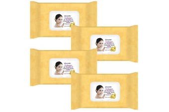 (Collagen-4pk) - Epielle Collagen & Vitamin E Facial Cleansing Facial Tissues Wipes Towelettes - 60ct (Sheets) per pack, Total 4 packs