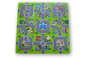 (Model 1) - Meitoku EVA interlocking soft foam floor puzzle mat for children. Traffic circuit. 9 pieces. 30 x 30 x 1 cm. thick each. Model 1