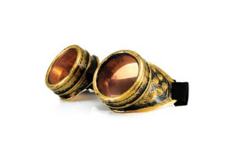 (balck orange) - 4sold Round Rave Gold Novelty Cosplay Steampunk Goggles UK Ultra Premium Quality Cyber Glasses Glasses Victorian Punk Style Welding Cosplay in a Gothic Style Goth Rustic Rivet Vintage