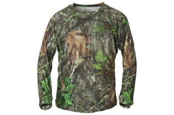 (Large, Mossy Oak Obsession) - Banded Men's Tech Stalker Mock Shirt Long Sleeve Polyester