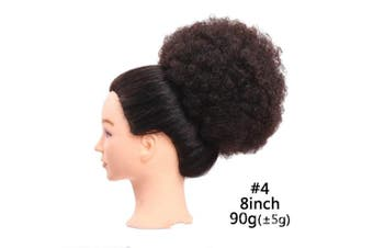(20cm , #4) - Fluffy Afro Kinky Curly Chignon Cosy Synthetic Hair Ponytail Puff Donut Chignon Wig With Two Plastic Combs Short Wedding Hairstyles Updo 6 or 20cm (20cm , 4)