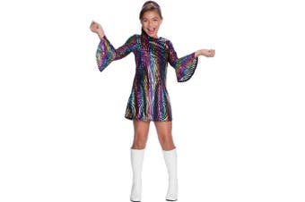 (Small (size 6-8)) - Girls Rainbow Swirl Disco Diva 1960s Costume