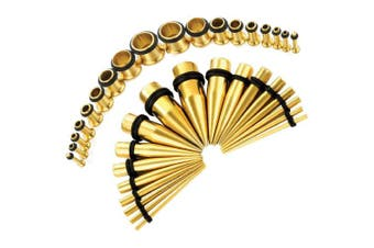 (Goldtone) - BodyJ4You 36PC Gauges Kit Ear Stretching 14G-00G Surgical Steel Tunnel Plugs Tapers Piecing Set