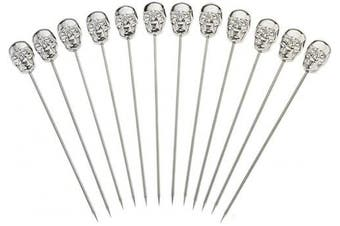 (Skull Top, Stainless) - Barfly M37064 Cocktail Picks, O/S, Stainless Steel