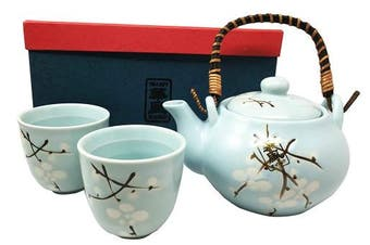 Japanese Design Sky Blue Cherry Blossom Sakura Tea Pot and Cups Set Serves 2 Beautifully Packaged in Gift Box Excellent Home Decor Asian Living