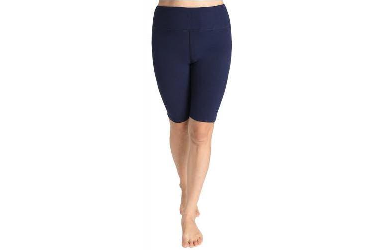 (Medium, Navy) - Weintee Women's Cotton Spandex Yoga Shorts Workout Gym Shorts