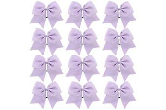 (LightPurple) - CHLONG Large Cheer Bows Girls Ponytail Holder Grosgrain Hair Bows Softball Dance Team Cheer Squad 12pcs (Lightpurple)