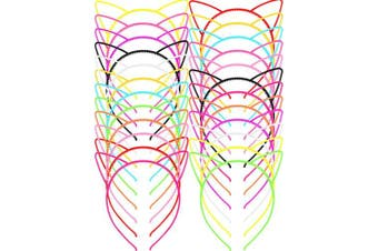 Chuangdi 48 Pieces Multicolor Plastic Cat Ears Headbands for Party Costume Daily Decorations
