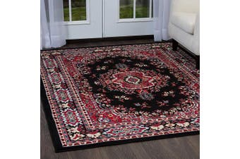 (50cm  x 90cm , Black/Red) - Home Dynamix Premium Sakarya Area Rug by Traditional Persian-Inspired Accent Rug | Stylish Medallion Print and Classic Boarder Design | Black, Red, Multicolor 50cm x 90cm