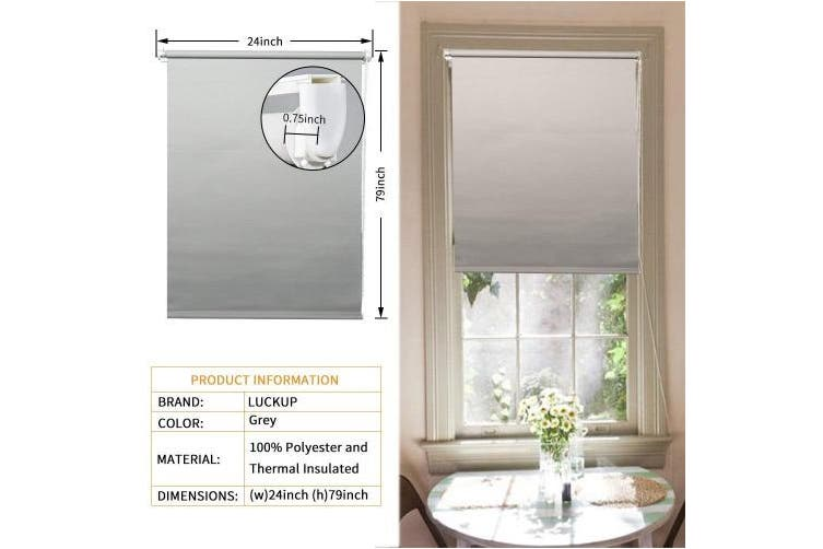 (60cm  x 200cm , Grey) - LUCKUP 100% Blackout Waterproof Fabric Window Roller Shades Blind, Thermal Insulated,UV protection,For Bedrooms,Living room,Bathroom,The office, Easy To Instal 60cm W x 200cm L(Grey)