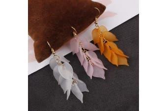 (Leaf) - 3 Pairs Petals Leaf Dangle Earrings Ear Studs, Brass Hoop and Frosted Resin Leaf Tassel Pendant for Casual Wear Or Formal Dress Women Girls Jewellery(White,Pink,Orange)
