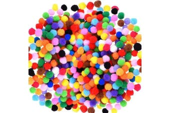 Caydo 2400 Pieces 1cm Assorted Pompoms Multicolor Arts and Crafts Fuzzy Pom Poms Balls for Hobby Supplies