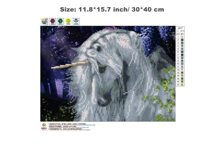 DIY 5D Diamond Painting Kit, Unicorn Crystal Embroidery Cross Stitch Arts Craft Supply for Living Room Wall Decor 30cm x 40cm
