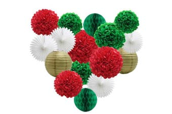 (Red-green-white) - Party Decorations Kit, Green Red White Birthday Bridal Shower Decor Paper Pom Poms Flowers Honeycomb Balls Lanterns Paper Tissue Fans Photo Backdrop Wedding Christmas Bachelorette Supplies