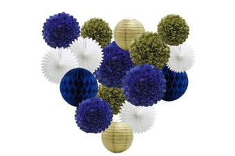 (Navy Blue-gold-white) - 16pcs Party Decoration Supplies Set of Tissue Honeycomb Balls Lanterns Paper Pom Poms Flowers Hanging Fan for Room Wedding Anniversary Birthday Graduation Backdrop Decoration (Navy Blue White Gold)